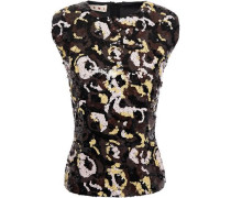 Woman Sequined Crepe De Chine Top Chocolate