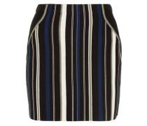 Striped stretch cotton-blend mini skirt