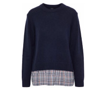 Checked Silk-paneled Wool And Cashmere-blend Sweater Midnight Blue