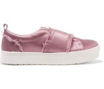 Levine frayed satin slip-on sneakers