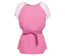 Grosgrain-trimmed Satin-crepe And Silk-chiffon Top Pink