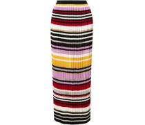 Woman Pleated Striped Knitted Maxi Skirt Multicolor