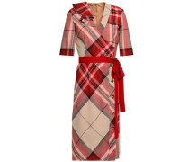 Wrap-effect Checked Wool Dress Red