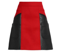 Flared leather and brushed wool-blend mini skirt