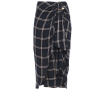 Woman Emma Asymmetric Draped Checked Twill Midi Skirt Navy