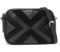 Woman Raika Convertible Textured-leather And Suede Shoulder Bag Black