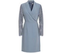 Lace-paneled Crepe Dress Light Blue