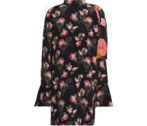 Cold-shoulder Floral-print Silk-georgette Mini Dress Black