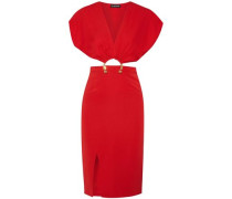 Woman Kerr Embellished Cutout Stretch-silk Dress Red