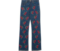 Voyage embellished embroidered mid-rise straight-leg jeans