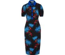 Woman Elly Floral-print Stretch-cady Shirt Dress Black