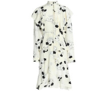 Pussy-bow ruffled floral-print silk crepe de chine dress