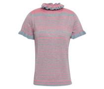 Metallic Striped Wool-blend Top Pink