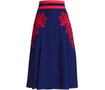 Flared embroidered crepe midi skirt