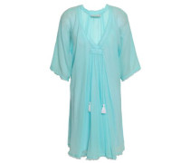 Tassel-trimmed Cotton-gauze Coverup Turquoise