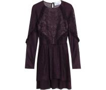 Ruffle-trimmed metallic pointelle-knit mini dress