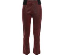 Cracked-leather Kick-flare Pants Merlot Size 12