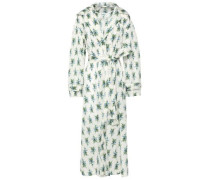 Wilmer Belted Floral-print Shell Hooded Jacket Ivory