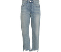 Aberdeen Cropped Distressed Mid-rise Slim-leg Jeans Light Denim  5