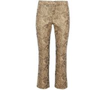 Drew cropped cotton-blend jacquard straight-leg pants