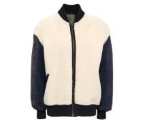 Paneled shearling bomber jacket