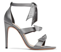 Knotted Satin Sandals Gray