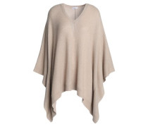 Sequin-embellished ribbed-knit poncho