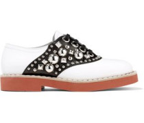 Embellished Two-tone Leather Brogues White