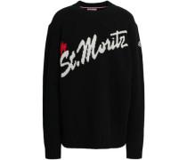 Intarsia Wool-blend Sweater Black