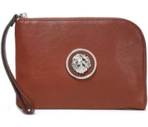 Embellished Leather Pouch Brown Size --