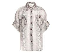 Snake-print Linen And Silk-blend Organza Shirt Animal Print