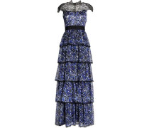 McKee Chantilly lace-paneled tiered printed silk maxi dress
