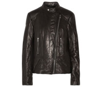 Albinson Quilted Leather Biker Jacket Black