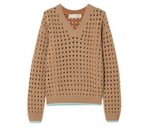 Open-knit Wool-blend Sweater Light Brown