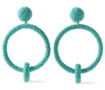 Beaded Hoop Clip Earrings Turquoise Size --