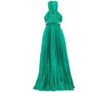 Cutout Silk-blend Plissé Maxi Dress Jade