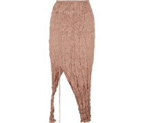 Crinkled silk-satin midi skirt