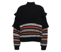 Fair Isle And Cable-knit Wool Turtleneck Sweater Black