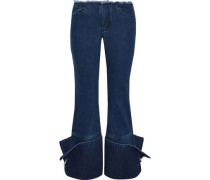 Ring-detailed frayed low-rise flared jeans
