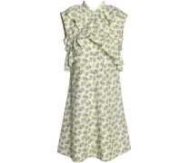 Crossover Ruffle-trimmed Floral-print Cotton-poplin Dress Pastel Yellow