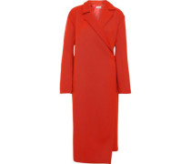 Brushed Wool-blend Twill Wrap Coat Red