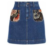 Jacquard-paneled studded denim mini skirt