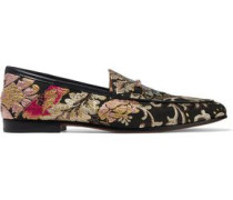 Loraine leather-trimmed brocade loafers