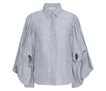 Striped Linen And Silk-blend Jacquard Blouse Light Gray