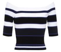 Off-the-shoulder Striped Ribbed-knit Top Black