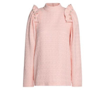 Ruffled faux pearl-embellished cotton-blend tweed top