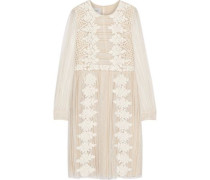 Paneled embroidered lace dress
