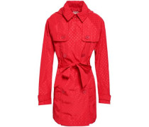 Double-breasted Polka-dot Shell Hooded Trench Coat Red