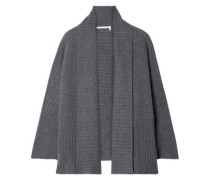 Woman Ribbed Cashmere Cardigan Dark Gray