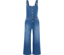 Woman Claire Cropped Faded Denim Overalls Mid Denim